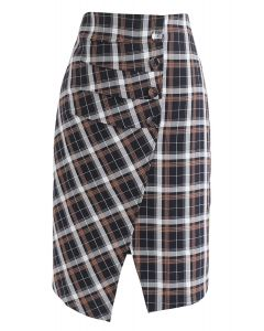 Pretty Chichi Asymmetric Plaid Skirt in Navy