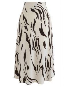 Bon Voyage Chiffon Midi Skirt in Cream