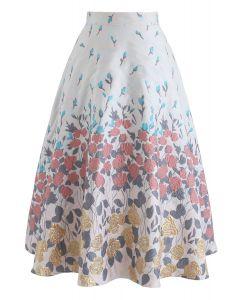 Geminate Flower Embossed A-Line Skirt