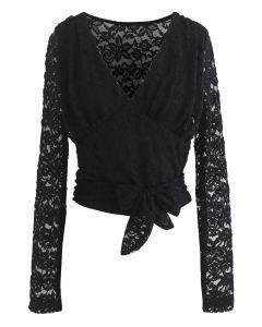 Daring Darling Deep V-Neck Black Lace Top