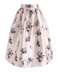 Go with Grace Floral Printed Midi Skirt
