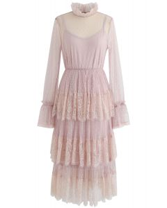 We've Met Before Dots Lace Mesh Dress in Pink