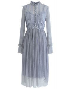 Love Me Do Pearls Lace Mesh Dress