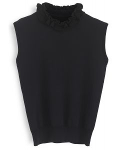 Ruffle My Heart Sleeveless Knit Top in Black