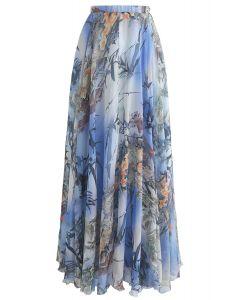 Bamboo Watercolor Maxi Skirt in Blue