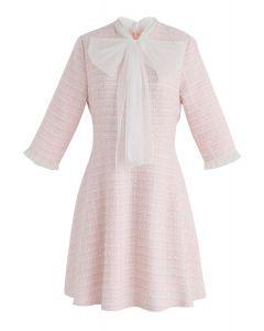 A Hint Of Femininity Tweed Dress in Pink