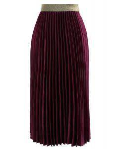 Gimme The Spotlight Pleated Midi Skirt in Plum
