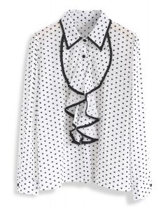 It's All in Hearts Print Chiffon Shirt