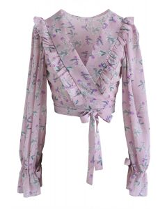 After Sunset Floral Wrap Crop Top in Pink
