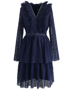 Call on Me Ruffle Tiered V-Neck Dress in Navy