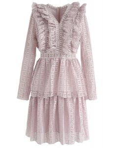 Call on Me Ruffle Tiered V-Neck Dress in Pink