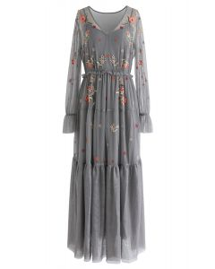 Garden Stunner Embroidered Mesh Maxi Dress in Grey