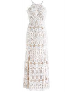 Captivate All Eyes Halter Neck Lace Maxi Dress