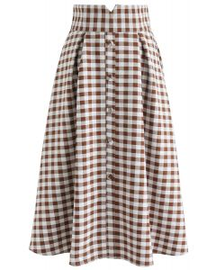 Base Color A-Line Midi Skirt in Brown Gingham