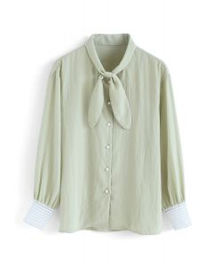 You Made It Bowknot Shirt in Pea Green