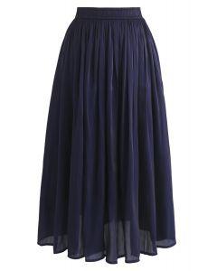 Sleek Beauties Pleated Midi Skirt in Navy