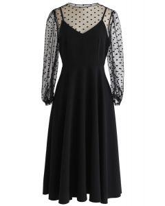 Night Breeze Mesh Twinset Dress in Black