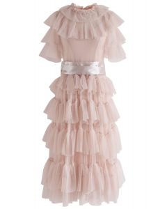 Sassy Romance Tiered Mesh Dress in Nude Pink