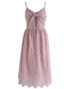 Party Playlist Eyelet Cami Dress in Pink