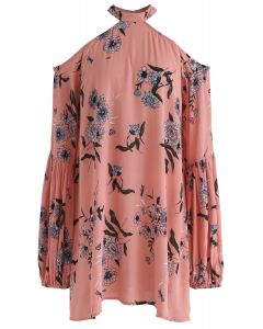 Your Summer Dew Floral Halter Neck Tunic in Pink