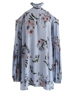 Your Summer Dew Floral Halter Neck Tunic in Blue