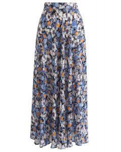 Flower Season Chiffon Maxi Skirt in Blue