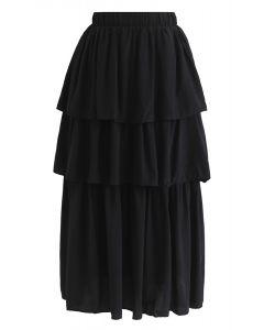 Same Love Tiered Midi Skirt in Black