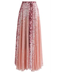Cherry Blossom Watercolor Chiffon Maxi Skirt