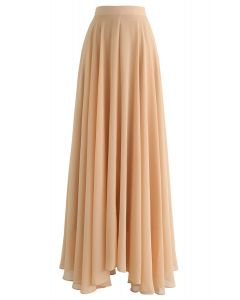 Timeless Favorite Chiffon Maxi Skirt in Light Tan