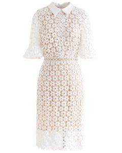 Faith in Elegance Crochet Shift Dress in White