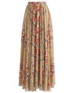 All Bloom Chiffon Maxi Skirt in Mustard