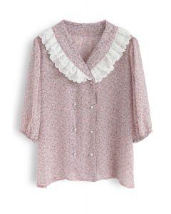 Nostalgic Melody Floret Print Sheer Shirt in Pink