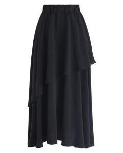 Be Myself Asymmetric Chiffon Midi Skirt in Black