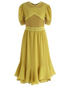 Moonlight Shadow Lace Inserted Midi Dress in Mustard