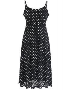 Ready to Run Polka Dots Lace Cami Dress in Black