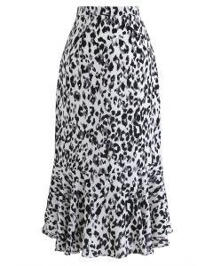 It Must Be Love Painted Leopard Frilling Skirt