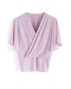 Stay Chic Cropped Cape Top in Pink