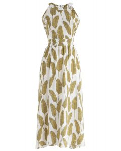 Summer Palm Leaf Print Halter Neck Maxi Dress in Mustard