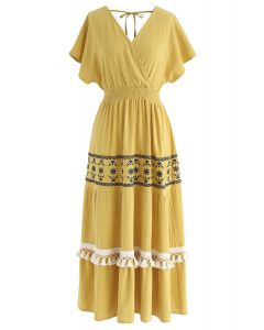 My Only Wish Boho Wrap Dress in Mustard