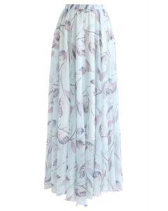 Minty Sweet Leaves Chiffon Maxi Skirt