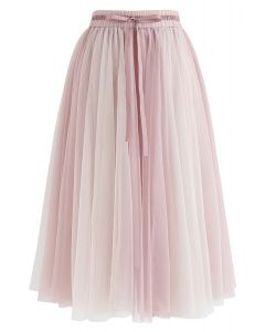 Amore Mesh Tulle Skirt in Pink