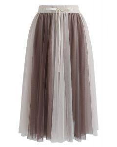 Amore Mesh Tulle Skirt in Tan