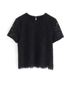 Everyday Fit Full Lace Top in Black