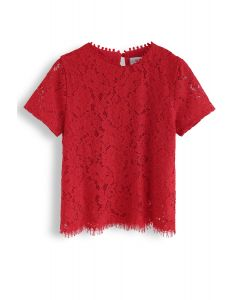 Everyday Fit Full Lace Top in Red