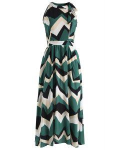 Endless Color Halter Neck Maxi Dress in Green