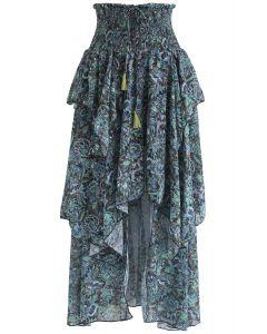 Boho Flowers Asymmetric Midi Skirt in Dark Green