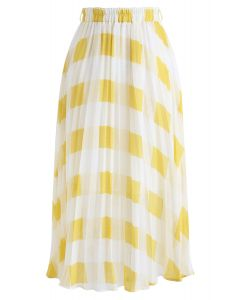 True Adorer Check Pleated Midi Skirt in Yellow