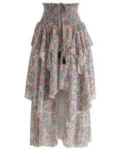 Boho Flowers Asymmetric Midi Skirt in Tan