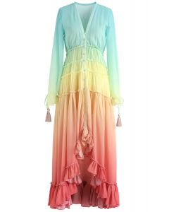Vacay Paradise Gradient V-Neck Maxi Dress