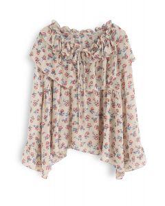 Vivacious Ruffle Floral Chiffon Top in Cream